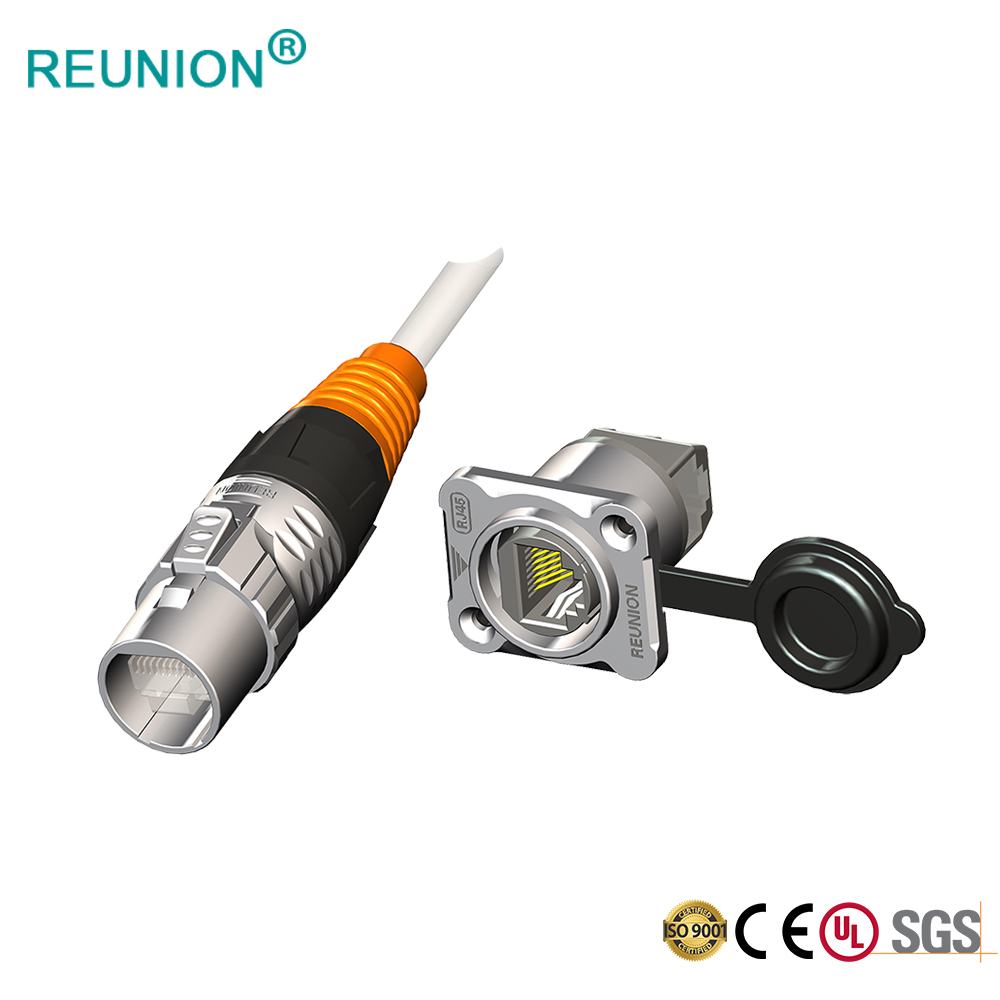 REUNION Industrial Waterproof Ethernet Plate Panel Mount Connector RJ45 RG45
